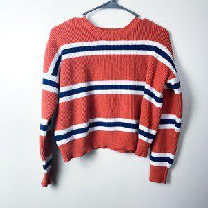 Sweet & Sinful Orange Blue Striped Cropped Sweater